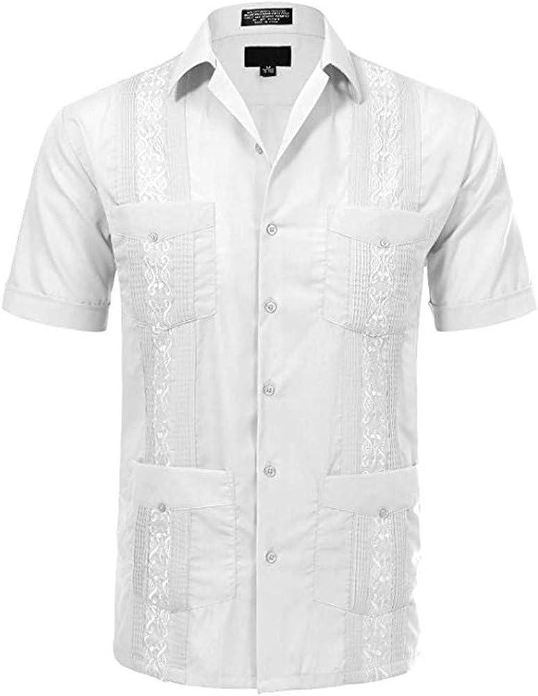 PARVAL Hombre Camisa de Características Nacionales Retro Camisas Sueltas Botón de Manga Corta Camiseta de Solapa Bordado Tops de Manga Larga para Negocios Ocio Fiesta de Bodas 100% algodón: Amazon.es: Ropa y