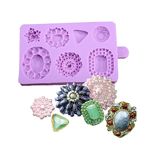 KALAIEN 3D Brooch Cake Jewelry Gemstone Cupcake Decorating Mold Chocolate Mould