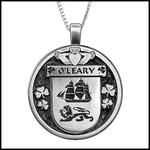 (O'Leary Irish Coat of Arms Disk Pendant)