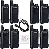Retevis RT22 Two Way Radio Rechargeable UHF 400-480MHz 16 CH CTCSS/DCS VOX Walkie Talkies(8 Pack) and Programming Cable(1 Pack)