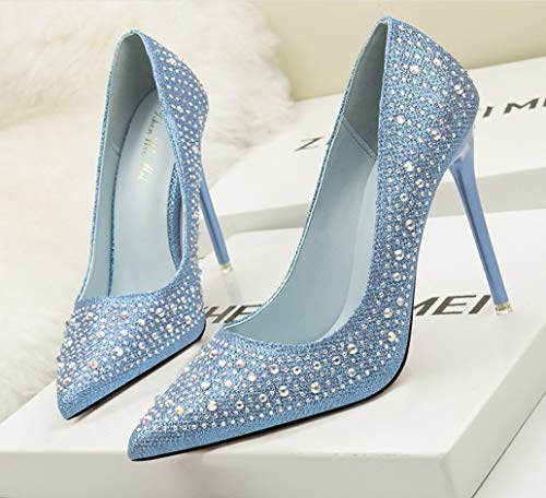 Bajo Fina Y Elegante Liangxie Novia Damas Delicado Honor De Alto Punta Azul Diamante Diamantes Tacón Moda Zapatos qOWUURxHP