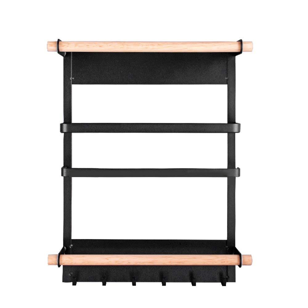 AjoliHome Kitchen Magnetic Fridge Storage Rack Kitchen Magnet Organizer Shelf roll Paper Towel Holders (Black)