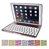 SMICK Ultra-Slim iPad Keyboard Case with 7 Colors LED Backlit Bluetooth Keyboard for Ipad Pro 9.7 Inches ,Rose Gold