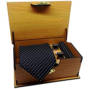 Luxeis Men Premium cotton silk Neck Tie and Pocket Square with Cufflink Combo Gift Set in Premium Wooden Box(Black, Free…