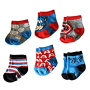 Marvel Captain America Superhero Infant Baby Boys Socks - 6 Pack (12-24 Months)