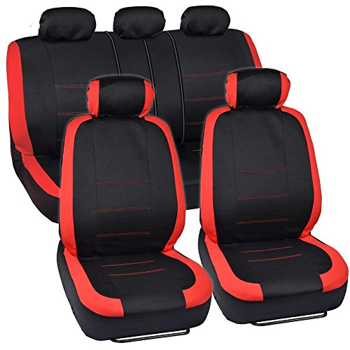 (BDK OS-332-RD_AMCAC Venice Series Car Seat Covers for Auto - Red Stripes on Flat Black Cloth - Split Bench Function, Original Cover Protection)
