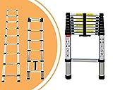 Leogreen - Telescopic ladder, Extendable Ladder, 13.5 feet, FREE Carry bag, EN 131, Maximum load: 330 lbs, Distance between the rungs (ladder deployed): 30 cm