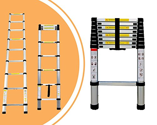 Leogreen - Telescopic ladder, Extendable Ladder, 8.5 feet, EN 131, Maximum load: 330 lbs