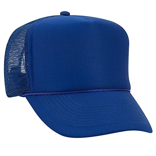 Foam Trucker Hat Cap - OTTO Polyester Foam Front 5 Panel High Crown Mesh Back Trucker Hat - Royal