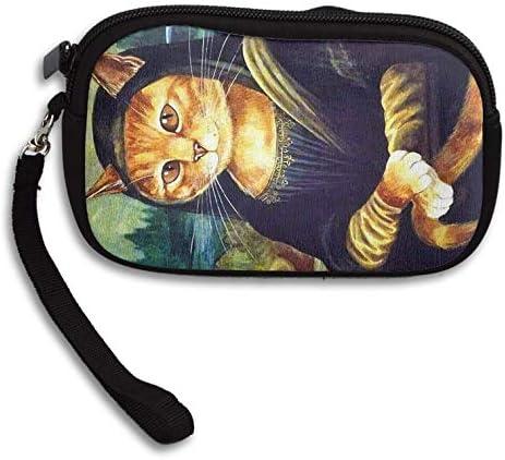 Amazon.com: Monedero monedero mono lisa gato con cremallera ...