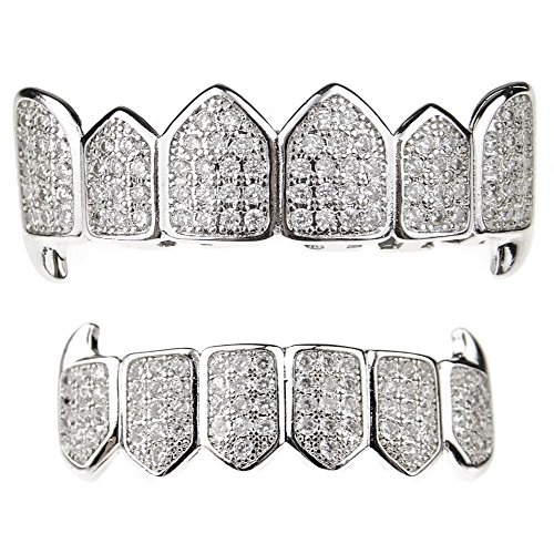 Premium Fang Grillz Set CZ Cubic Zirconia Bling Silver Tone Top & Bottom Teeth Vampire Hip Hop Grills by Bling Cartel (Image #5)