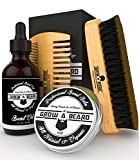 Facial Hair Styles Black - Beard Brush, Comb, Balm, Oil Grooming And Conditioner Beard Care For Men - Best Facial Hair Combo For Home And Travel - Ideal For Dry Or Wet And All Sizes & Beards Style