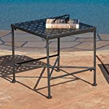 Great Deal Furniture Kent Outdoor Black Iron End Table