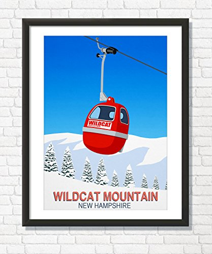 Steve Ash illustration Wilcat Mountain Ski Resort Poster (29.7cm x 42cm) (Ski Wildcat)