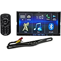 Package: JVC KW-V420BT 7 Double-Din DVD Receiver with Built-In Bluetooth, USB, and iPhone/Android Controls + Rockville RBC5B Black Rearview Backup License Plate Bar Camera
