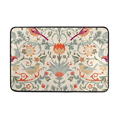 - William Morris Flower Doormat Indoor/Outdoor Washable Garden Office Door Mat,Kitchen Dining Living Hallway Bathroom Pet Entry Rugs with Non Slip Backing 23.6 X 15.7 inch