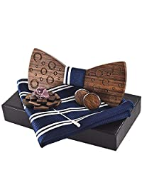 Wooden Bow Tie Gift Box, Premium Quality Walnut Wood Bow-tie With Brooch and Cuff-links