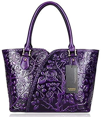 Pijushi Designer Floral Rose Ladies Handmade Leather Tote Shoulder Bags Satchel Handbags 22328