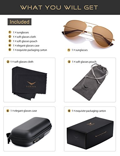 LUENX Womens Mens Aviator Sunglasses Polarized Brown Amber Lenses Gold Metal Frame UV400 Protection Classic Style by LUENX (Image #5)