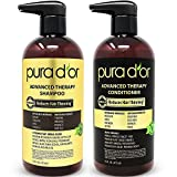 PURA D'OR Advanced Therapy System Shampoo & Conditioner - Increases Volume, Strength and Shine, Sulfate Free, Made with Argan Oil, All Hair Types, Men & Women, 16 fl oz (Packaging may vary)