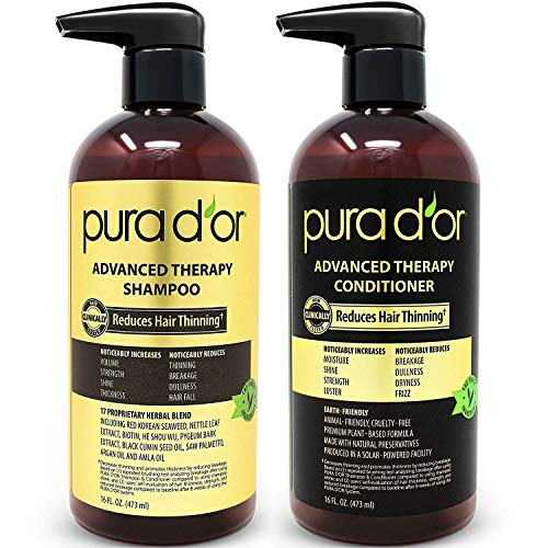 PURA D'OR Advanced Therapy System Shampoo & Conditioner - Increases Volume, Strength and Shine, Sulfate Free, Made with Argan Oil, All Hair Types, Men & Women, 16 fl oz (Packaging may vary) ()