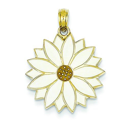 - 14K Yellow Gold White Enameled Daisy Flower Charm Pendant