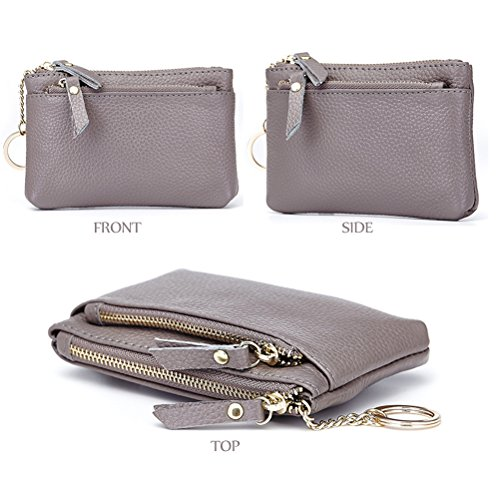 Womens Leather Coin Purse Keychain Zipper Change Holder Wallet(Grey) by Fmeida (Image #2)