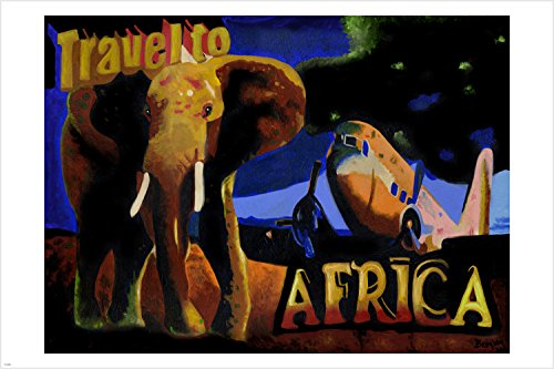 VINTAGE travel to AFRICA poster ELEPHANT plane EXOTIC ADVENT