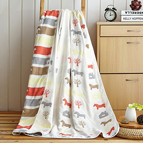 "Uozzi Bedding 6 Layers of 100% Organic Hypoallergenic Muslin Cotton Baby Toddler Striped Premium Blanket, Cute House & Horse Printed Pattern. (Horse, 47""x59"")"