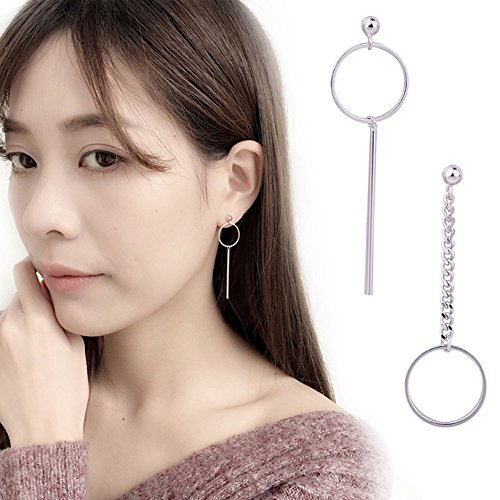 - A&C Fashion Korean Version Chic Asymmetric Round Pendant Ear Line for Women. Unique Handmade Earrings Jewelry for Girl. (Silver Color)