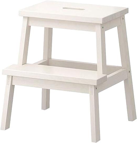 LAXF- Sillas Escalera Plegable Madera Taburete Multifuncional de Dos Capas de Madera Maciza Muebles para Adultos para la Cocina Dormitorio de la Sala de Estar Cuarto de baño (Color : Blanco): Amazon.es: