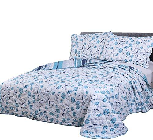blue quilt sets quilts queen size clearance lightweight bedspread summer bedding ebay. Black Bedroom Furniture Sets. Home Design Ideas