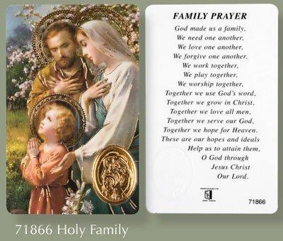 Gebet Vers Karte Laminiert Heilige Familie Und Medaille Amazon De