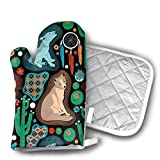 Southwest Baby Wolves Oven Mitts Cotton Quilting Lining, Oven Gloves and Pot Holders Kitchen Set for BBQ Cooking Baking, Grilling, Barbecue,