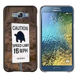 Tortuga velocidad lenta Conductor Límite de coches- Metal de aluminio y de plástico duro Caja del teléfono - Negro - Samsung Galaxy E7 / SM-E700