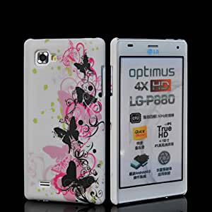 EVERGREENBUYING Floral Butterfly Pattern Hard Rubberized Rubber Coating Case Cover For LG Optimus 4X HD P880 01