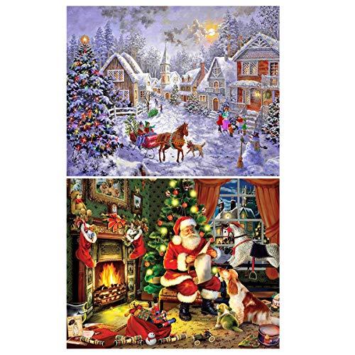 2 Pack 5D DIY Diamond Painting Kit Wall Hanging Full Drill Diamond Painting Set for Christmas Home Decor (Christmas)