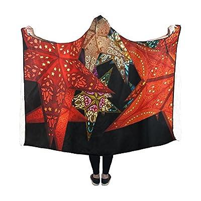 Jnseff Hooded Blanket Star Red Black Dark Night Light Colorful Blanket 60x50 Inch Comfotable Hooded Throw Wrap