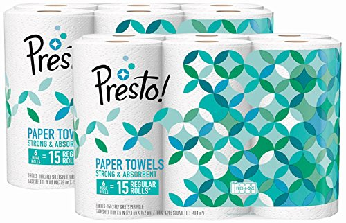 Amazon Brand - Presto! Flex-a-Size Paper Towels, Huge Roll, 12 count