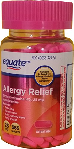 Allergy Relief Tablets, Diphenhydramin HCl, 25mg, 365ct, By Equate, Compare to Benadryl Allergy Ultratab