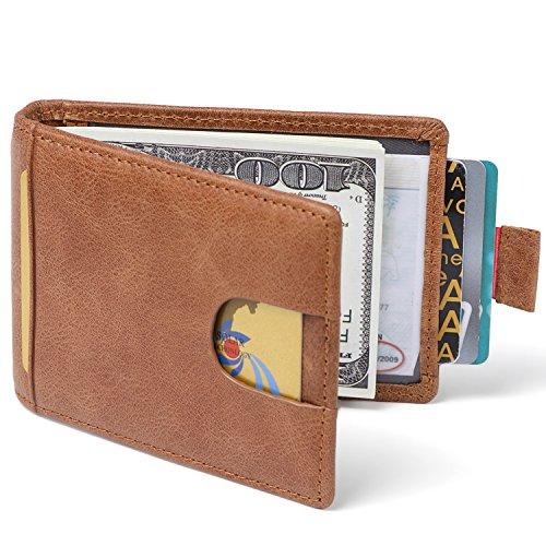 Clip Blocking Bifold Credit Men Slim Huztencor Wallet Leather Genuine Black for Brown Wallets Wallet Holder Money RFID Thin Front Pocket Minimalist Card Sv5qO8w