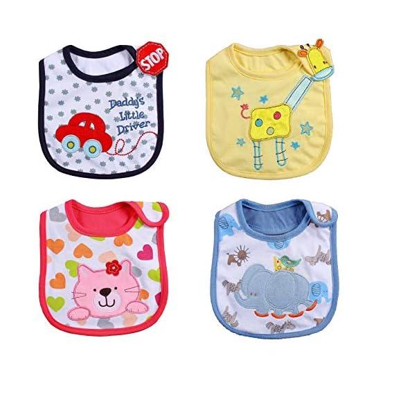 Trexee (1 Bib) Washable Waterproof Baby Bibs Buckle Hood Towel for Baby, Infant, Toddler Feeding (1pc Random Design)