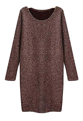 Cruiize Crewneck Sweater Dress Long Classic Sleeve Womens Casual Coffee Pullover SqrpwSE0