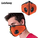Letsfunny Dust Mask Activated Carbon Dustproof Breathing Mask Respirators Mask with Filter Cotton Sheet and Valves for Men and Women - Anti Pollen Allergy PM2.5 (Orange)