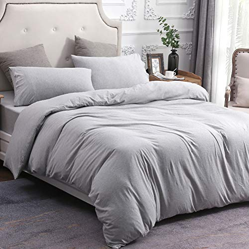 Era Knit - PURE ERA Solid Cotton Ultra Soft Heather Jersey Knit Home Bedding 3 Pieces Duvet Cover Set,1 Comforter Cover and 2 Pillow Shams Grey King Size
