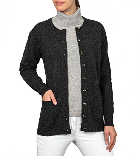 - WoolOvers Womens Lambswool Crew Neck Cardigan Charcoal, XS