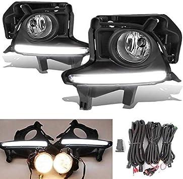 For 2015-2016 Toyota Highlander Clear Lens Bumper Driving Fog Light+Switch+Bulbs