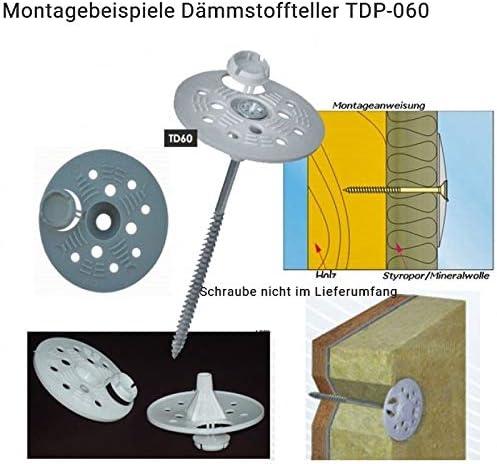 200 D/ämmstoffteller//Druckscheibe 63mm mit Kappe D/übelteller