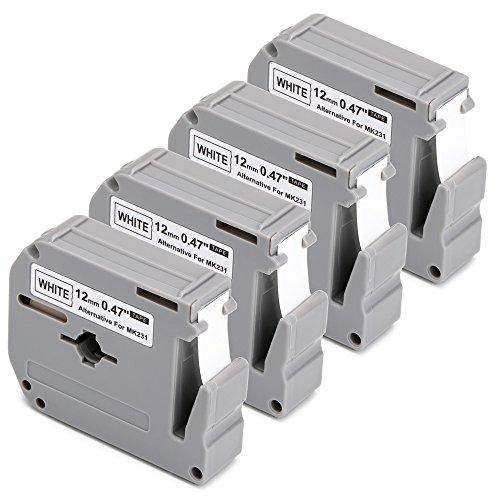 JARBO M231 Compatible Brother Label Tape MK231 M-K231 Black on White, 4 Packs, 0.47 Inch x 26.2 Feet (12mm x 8m), Used for Brother P-Touch Label Maker PT-65 PT-70 PT-70SR PT-70BM PT-90 PT-M95 Printer (Brother Label Pt Maker 70)