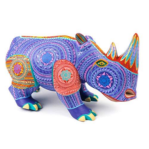 Rhinoceros Oaxacan Alebrije Wood Carving Mexican Folk Art Sculpture Painting Decor